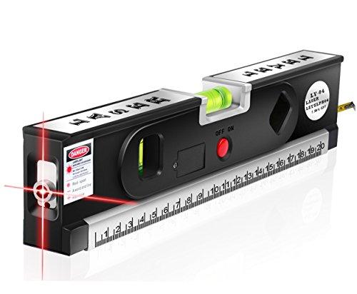 Multipurpose Laser Level Laser Measure Line Measure Tape Ruler Adjusted Standard and Metric RulersBlack-FOLAI