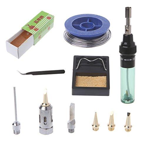 Numkuda 11 Pcs MT-100 Tool Cordless Butane Gas Soldering Iron Gun Blow Torch Welding Pen