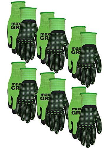 Midwest Gloves Gear 93P06-SM-AZ-6 Max Grip 6pr Pack Ladies Green