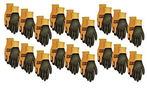 Midwest Gloves Gear 94P18-LX-00 Max Grip Packs 12 Pairs Mens Orange-LARGE