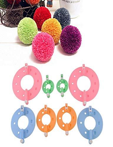 Barlingrock 8 PCS Weaving Tool Fluff Ball Weave Needle Knitting Craft Wool Ball DIY Tools Set 4 Sizes Multicolor