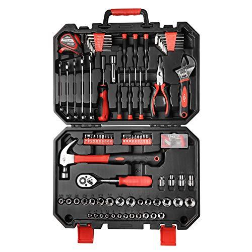 EXCITED WORK 128-Piece Tool Set Home Repair DIY Tool Set Auto Repair Tool Kit with Plastic Toolbox Storage Box