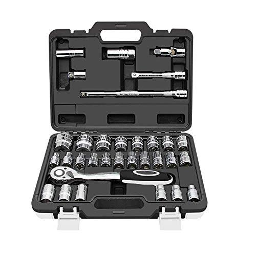General Purpose Tool SetDrive Socket SetOutdoor 32 Pcs 12 Chrome Vanadium Steel Socket Set Screwdriver Ratchet Driver Case Tool Kit Socket Diy Tool Set