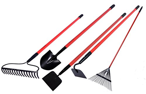 Garden All Garden Tools Kit - Include Round Point Shovel 12 Guage Garden Hoe  Bow Rake  Steel Rake  Gden Cultivator with Fiberglass Handle - Five Pieces - Super Special Offers