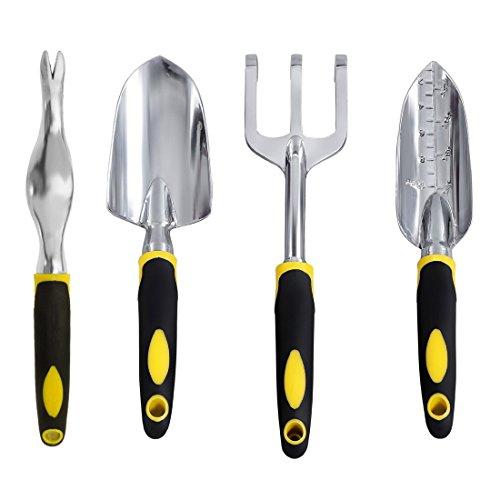 Mojing Garden Tools Set4 PieceGarden Tools kit with Ergonomic Handles Includes Trowel Transplanter Cultivator and Weeder