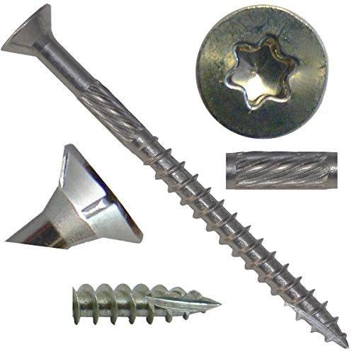 9 x 2 Silver Star Stainless Steel FLAT HEAD Wood Screw TorxStar Drive Head 5 Pounds - 305 Stainless Steel TorxStar Drive Wood Screws ~665 Screws