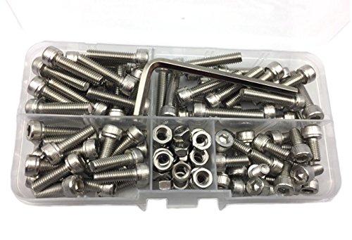 HVAZI 110PCS Metric M5 304 Stainless Steel Hex Socket Head Cap Screws Nuts Assortment Kit