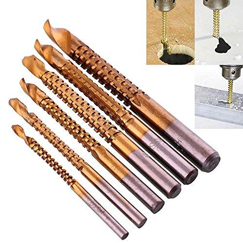 Agile-Shop 6 PCS 3-8mm Titanium HSS Drill Saw Bit Set Cutting Carpenter Wood Metal