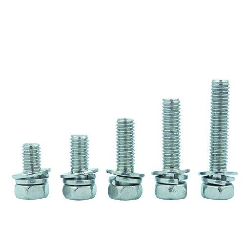 Bluemoona 20 Pcs - M5 Metric Thread 304 Stainless Steel Phillips Cross Head Combination Machine Screws Bolts 5mm x 25mm