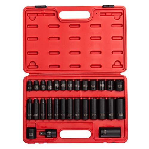 Sunex 3330 38 Drive Master Impact Socket Set 12 Pt 29Piece Metric 8mm-22mm StandardDeep Cr-Mo Steel Heavy Duty Storage Case Includes Universal Joint