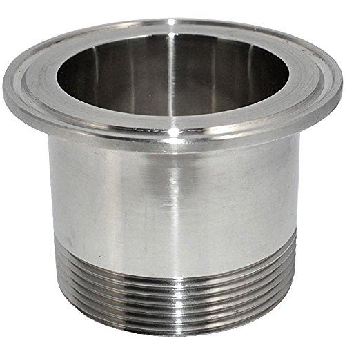 DN50 2 SS316 Sanitary Male Threaded Ferrule Pipe Fittings fits 25 Tri Clamp OD 77mm Ferrule