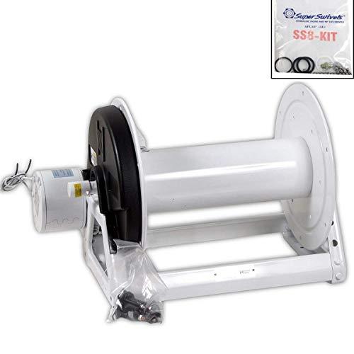 Hannay Reels E1530-17-18LT Electric Rewind 12V Hose Reel with 12-Inch Super Swivel Repair Kit Bundle 2 Items