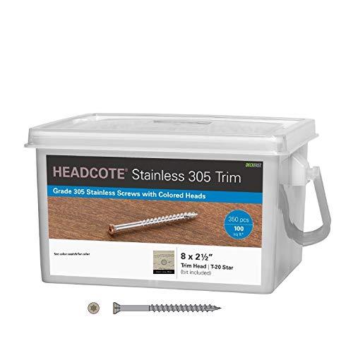 Headcote 8 x 2-12 - 54 Warm Gray - Stainless Steel Trim Head Deck Screws - 350 pc Deck Pack for 100 Sq Ft of Decking - STX54T08250