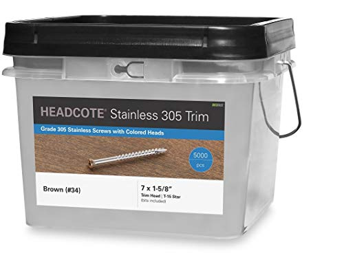 Headcote Trim Screws - 7 x 1-58 - 34 Brown- 5000 pc Bulk Pail - 305 Stainless Steel