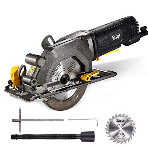 TECCPO Circular Saw 4 Amp 4-12 3500 RPM Compact Circular Saw with 24T Carbide Tipped Blade for Wood Cutting 7 Scale Ruler Max Cutting Depth 1-1116 90° 1-18 45° -TAMS25P