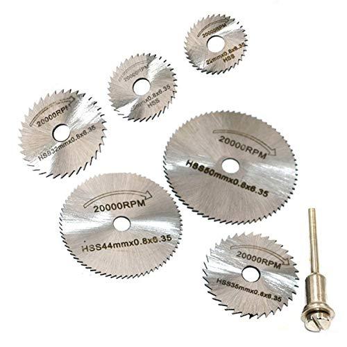 Bleiou 6 Pcs 18 inch High Speed Steel Circular Saw Blades HSS Saw Disc Rotary Tool for Dremel Metal Cutter Tools 22mm25mm32mm35mm44mm50mm