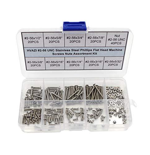HVAZI 2-56 UNC Stainless Steel Phillips Flat Head Machine Screws Nuts Assortment Kit
