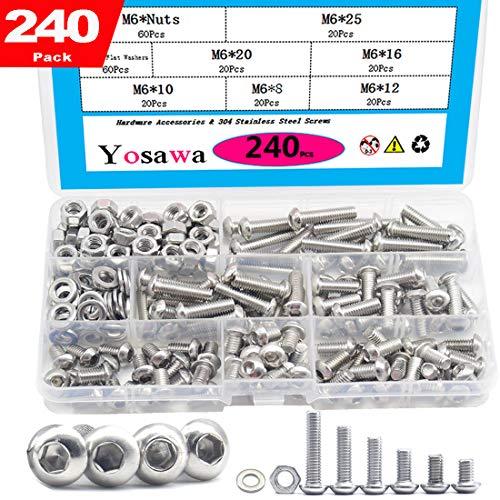 Yosawa 240Pcs M6 Stainless Steel Screws Hex Socket Button Head Cap Bolts Flat and Nuts Washers Assortment Kit GM6