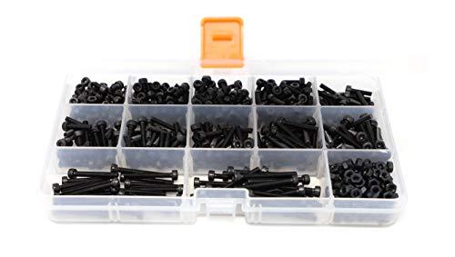 iExcell 925 Pcs Metric M3 129 Grade Alloy Steel Hex Socket Head Cap Screws Nuts Washers Hex Key Wrench Assortment Kit