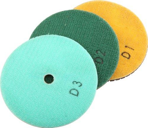 DAMO 4DAA 4-Inch 3-Step DryWet Diamond Polishing Pads for Granite PolishConcrete Polisher Set of 3