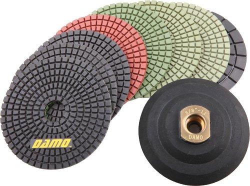 Damo Diamond Tools 4FPP127SETB4SRBH  4-Inch Wet Diamond Polishing Pads Granite PolishConcrete Polisher