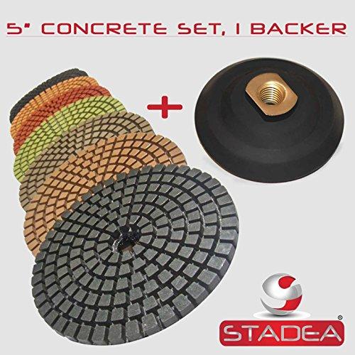 STADEA 5 Wet Diamond Polishing Pads Set for Concrete polishing  Rubber Backer 58 11 Threaded