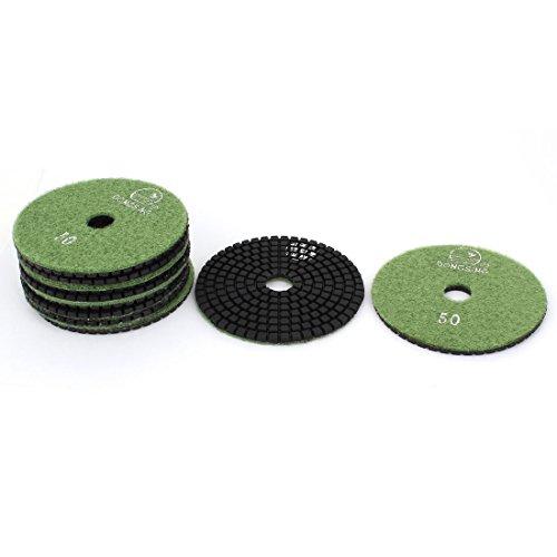 uxcellGranite Marble 50 Grit 4-inch Wet Diamond Polishing Pads Green 10pcs