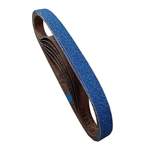 POWERTEC 424206Z-6 2 x 42 Sanding Belts 60 Grit Zirconia Metal Grinding Sand Paper - 6 Pack