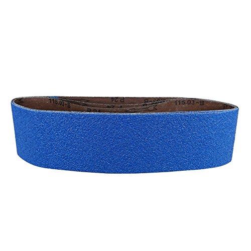 POWERTEC 4436036Z-3 4 x 36 Sanding Belts 36 Grit Zirconia Metal Grinding Sand Paper - 3 Pack