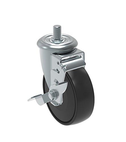Schioppa GLEED 412 NPPE SL L12 Series 4 x 1-14 Diameter Swivel Caster with Wheel Lock Brake Non-Marking Polypropylene Precision Ball Bearing Wheel 38 Diameter x 1 Length Threaded Stem 220 lb