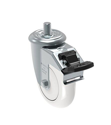 Schioppa GLEED 412 NTE G L12 Series 4 x 1-14 Diameter Swivel Caster with Total Lock Brake Non-Marking Nylon Precision Ball Bearing Wheel 38 Diameter x 1 Length Threaded Stem 375 lb
