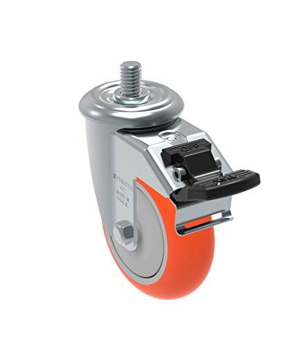 Schioppa GLEID 412 UPE G L12 Series 4 x 1-14 Diameter Swivel Caster with Total Lock Brake Non-Marking Polyurethane Precision Ball Bearing Wheel 12 Diameter x 1 Length Threaded Stem 275 lb