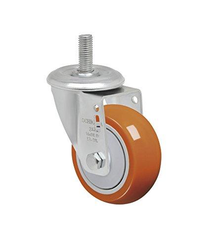 Schioppa L12 Series GLEEF 312 UPE 3 x 1-14 Swivel Caster Non-Marking Polyurethane Precision Ball Bearing Wheel 175 lbs 38 Diameter x 1-12 Length Threaded Stem