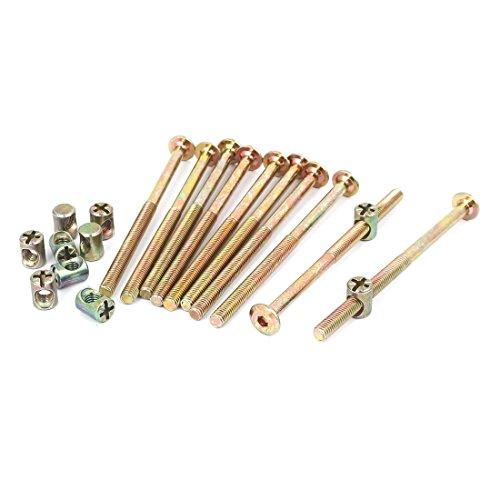 uxcell M6 x 100mm Hex Key Drive Socket Cap Furniture Bolt w M6 x 13mm Barrel Nut 10 Set