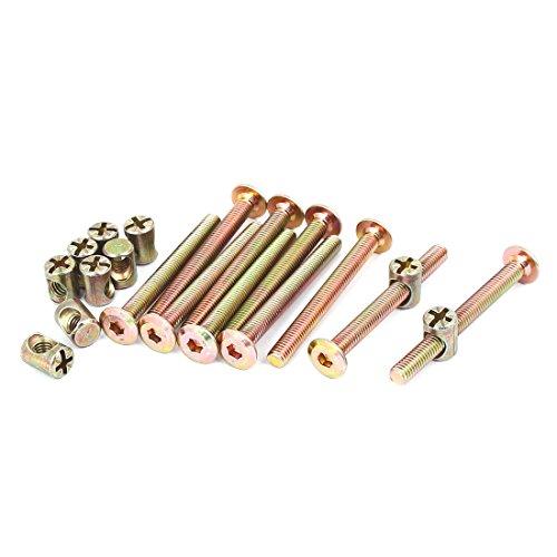 uxcell M6 x 60mm Hex Key Drive Socket Cap Furniture Bolt w M6 x 13mm Barrel Nut 10 Set