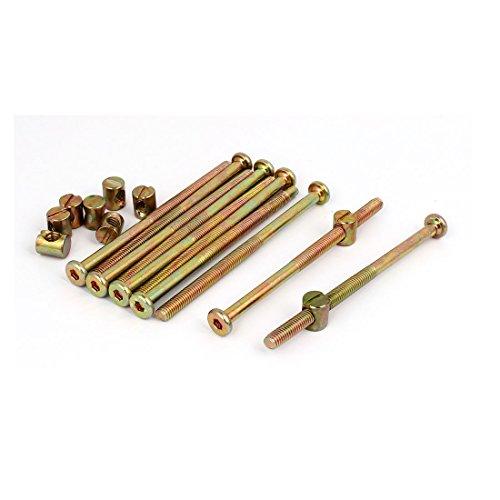 uxcell M6x100mm Hex Key Drive Socket Cap Furniture Bolt w M6x12mm Barrel Nut 10 Set