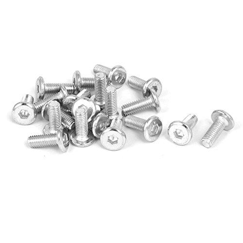uxcell M6x15mm Metal White Zinc Plated Hex Socket Head Furniture Bolts Fastener 20pcs