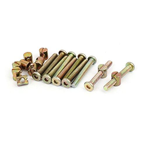 uxcell M6x45mm Hex Key Drive Socket Cap Furniture Bolt w M6x12mm Barrel Nut 10 Set
