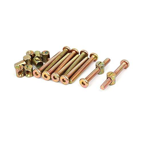 uxcell M6x50mm Hex Key Drive Socket Cap Furniture Bolt w M6x12mm Barrel Nut 10 Set