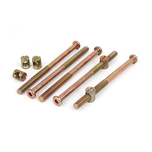 uxcell M8x120mm Hex Key Drive Socket Cap Furniture Bolt w M8x15mm Barrel Nut 5 Set