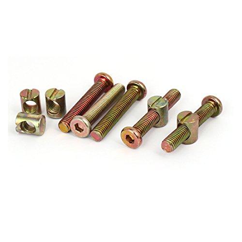 uxcell M8x45mm Hex Key Drive Socket Cap Furniture Bolt w M8x15mm Barrel Nut 5 Set