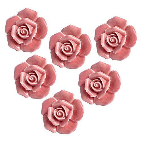 Yazer 6-Pack Beautiful Rose Ceramic Cabinet Drawer Knobs and Pulls Pink Cupboard Kitchen Bin Door Handles with Screws