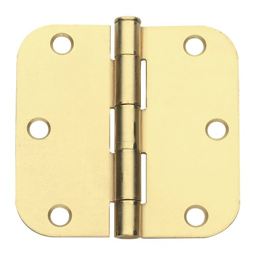 Global Door Controls 35 in x 35 in Satin Brass Plain Bearing Steel Hinge with 58 in Radius - Set of 2