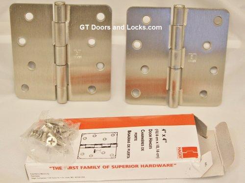 2 Pack Hager 4 X 4 Residential Satin Nickel Door Hinges with Screws