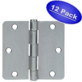 Cosmas Satin Nickel Door Hinge 35 Inch x 35 Inch with 14 Inch Radius Corners - 12 Pack