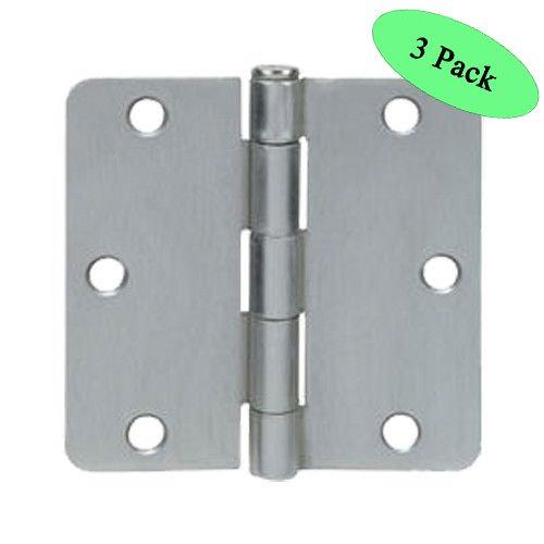 Cosmas Satin Nickel Door Hinge 35 Inch x 35 Inch with 14 Inch Radius Corners - 3 Pack
