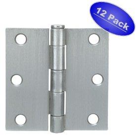 Cosmas Satin Nickel Door Hinge 35 Inch x 35 Inch with Square Corners - 12 Pack