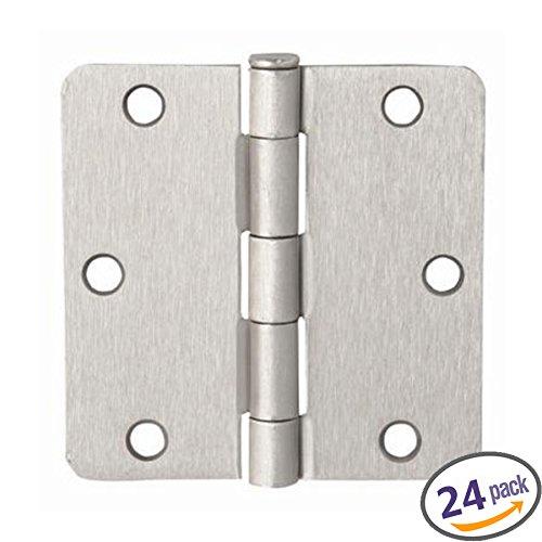 Dynasty Hardware 3-12 Door Hinges 14 Radius Corner Satin Nickel 24 - Pack