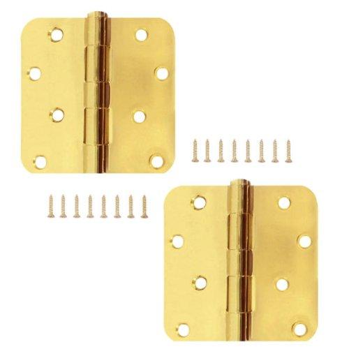 Stanley 834-622 4 Inch 14 Inch Radius Satin Brass Door Hinges Pack of 2