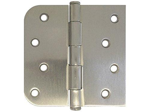 9 PC 4 X 4in Straight Square Corner 58 Round Radius Exterior Door Hinge Satin Nickel